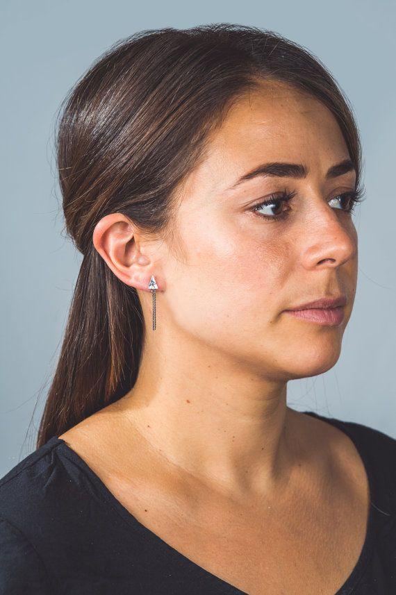 Boucles d'oreilles triangulaires en argent avec par EBjoailliere
