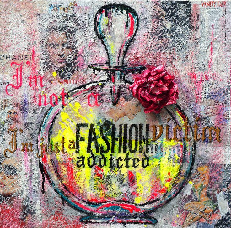 "Fashion Victim 80x80 Collage&Acrilic on Canvas Serie ""FullArt Couture"" 2014"