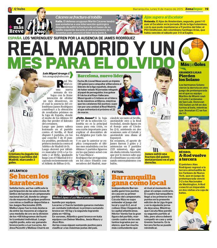 Real Madrid y un mes para el olvido. Textos: Luis Miguel Arango J. Empresa: Q'hubo Barranquilla.