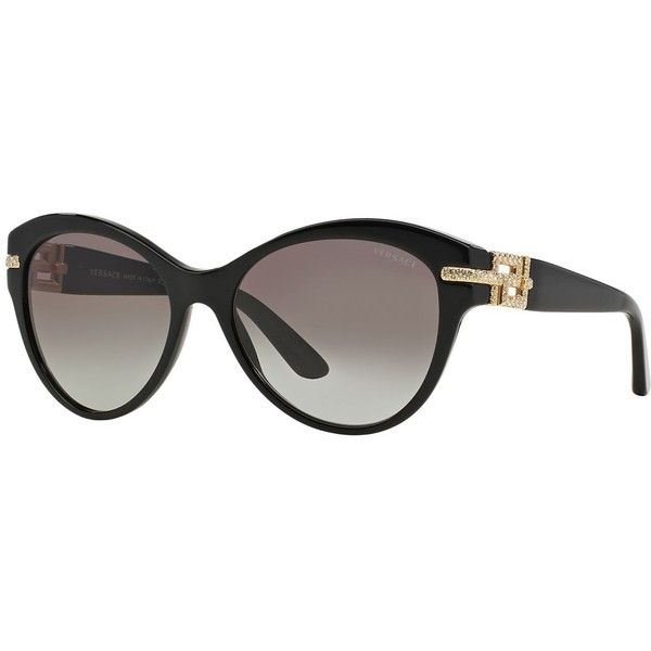 Versace VE4283B ($295) ❤ liked on Polyvore featuring accessories, eyewear, sunglasses, versace glasses, grey sunglasses, versace eyewear, versace ve gray sunglasses