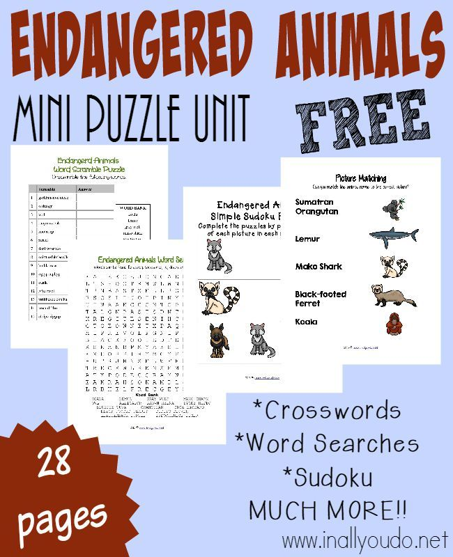 Kids can learn about 15 different Endangered Animals with this fun-filled puzzle & activity pack! Includes crosswords, word searches, matching and more! :: www.inallyoudo.net