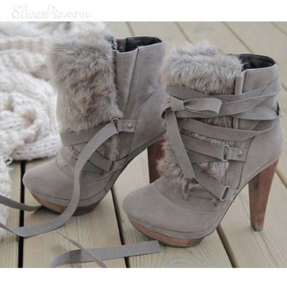 Gray boots with fur - just add the apple bottom jeans