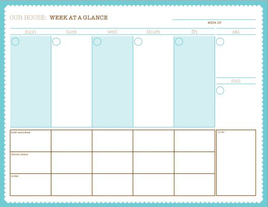 week at a glance free printable