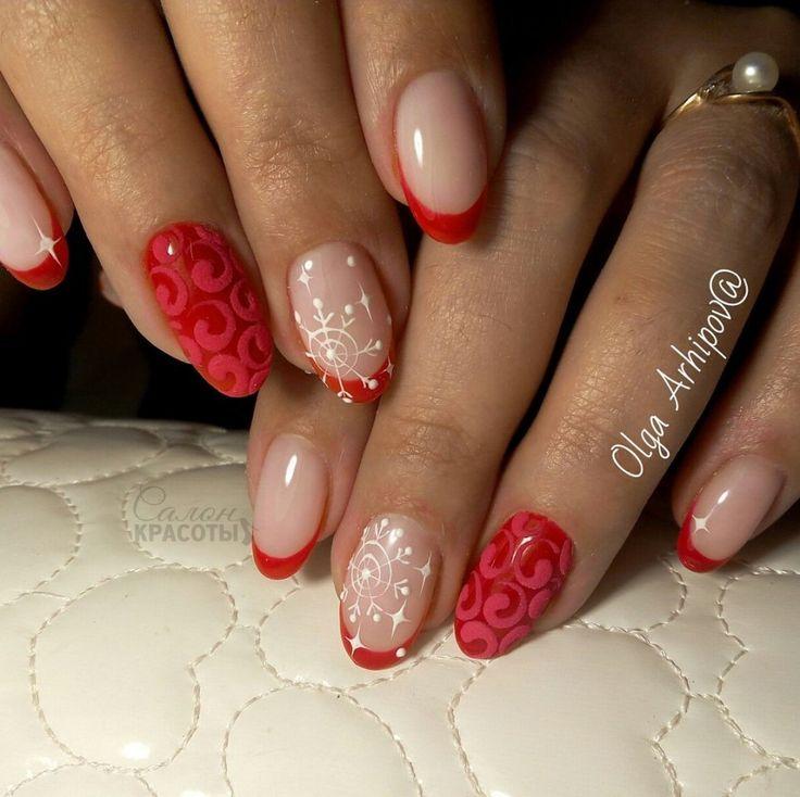 Christmas nails, New Year nails 2017, New years nails, Red nail art, Red nails 2016, Red nails ideas, Square nails