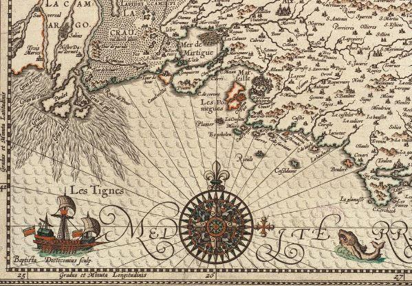 В рубрику #чудоморское  На этом фрагменте карты Прованса Йодокуса Хондиуса есть все, что мы любим в старых картах: неведомый морской житель с чем-то вроде козлиной бородки, великолепная компасная роза и корабль, очень напоминающий парусно-весельное судно под названием шебека.  #карты #старыекарты #стараякарта #Прованс #Франция #17век #шебека #Средиземноморье #корабль #компас #география #картография #история