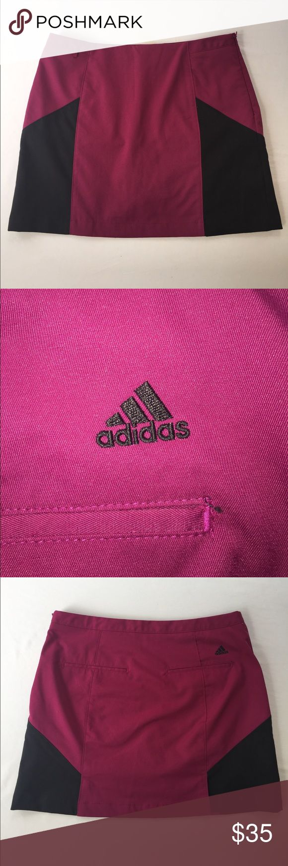 Adidas Fuchsia & Black ClimaCool Athletic Skirt, 2 This awesome Adidas Fuchsia & Black Athletic Skirt, 2  is great for athletic adventures and knocking around town in! EXCELLENT CONDITION, NO DEFECTS AND COMES FROM A SMOKE FREE HOME. adidas Shorts Skorts
