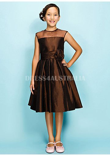 Cheap and Australia Cute Chocolate A-line Sheer Neckline Taffeta Short Junior Bridesmaid Dresses from Dresses4Australia.com.au