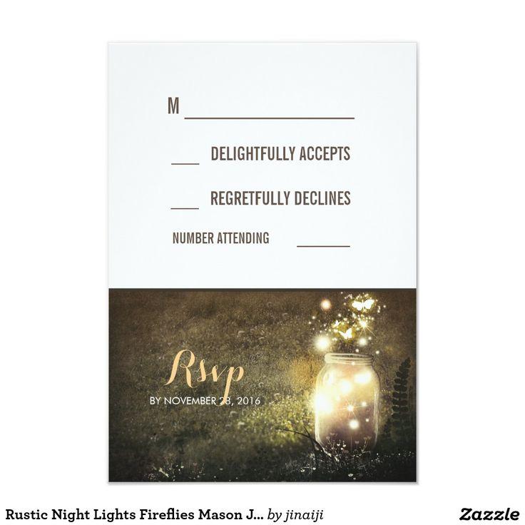 Rustic Night Lights Fireflies Mason Jar RSVP Cards