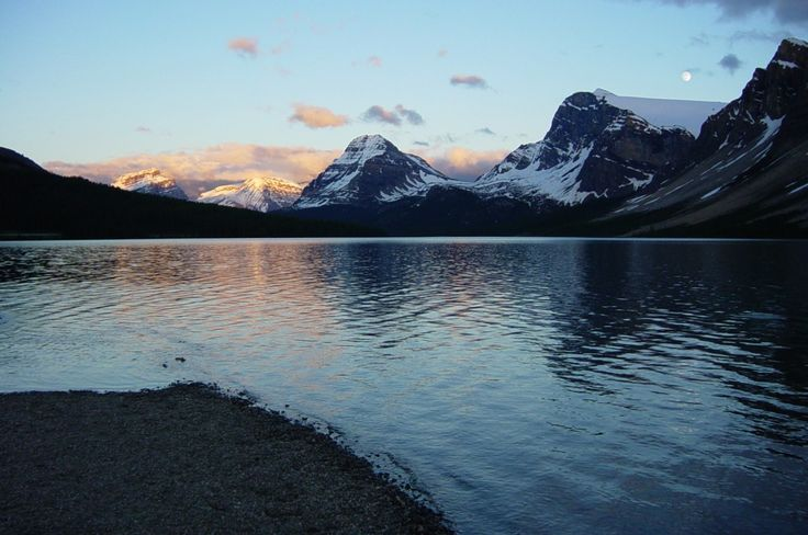 Bow Lake from Num-ti-Jah Lodge at sunset.  Banff National Park, Alberta.