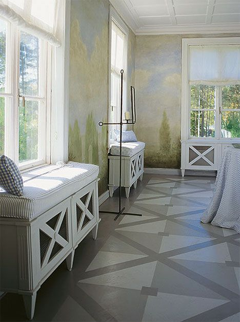 great painted floor idea! And love the muted trees painted on the walls