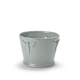 "MEDIUM DRAGONFLY TAPER POT - faux aged ceramic earthenware in celadon 6.5"""