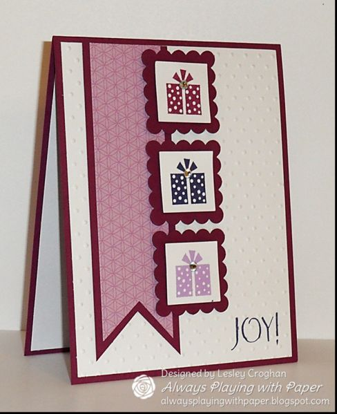 {Supplies Used} Stamps: Sentiment (Flourishes), Jolly Bingo Bits (SU!) Ink: Rich Razzleberry, Orchid Opulence and Concord Crush Paper: SU! Rich Razzleberry, Whisper White and retired Cottage Wall DSP Extras: Rhinestones on the presents, Swiss Dots Embossing Folder, Big Shot