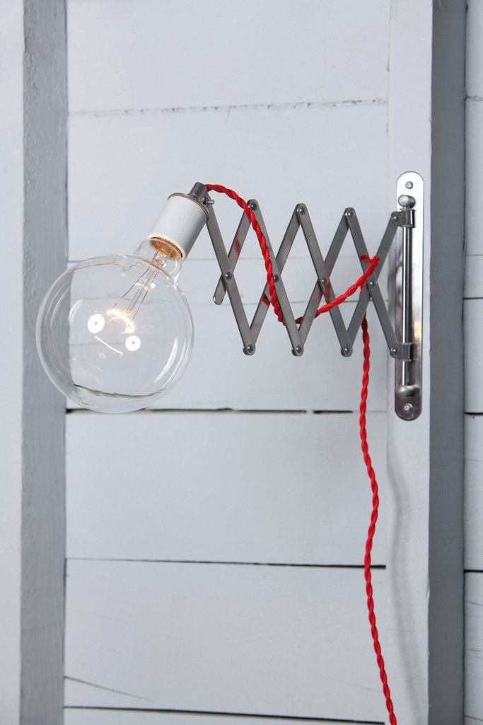 Scissor Wall Lamp - Industrial Wall Light - Bare Bulb