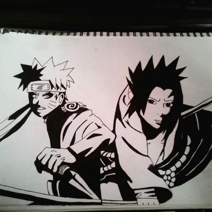 Naruto and Sasuke fighting.  Done by animeniacKING
