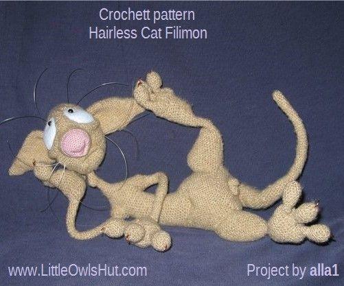 Project by alla1. Hairless Cat Filimon. Crochet pattern by Astashova for LittleOwlsHut#LittleOwlsHut, #Amigurumi, #Astashova, #CrochetPattern, #Cat, #DIY, #Pattern, #Toy