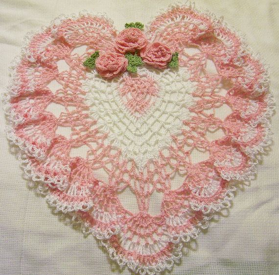 pink and white heart lace crocheted doily by isabellestreasures, $39.99