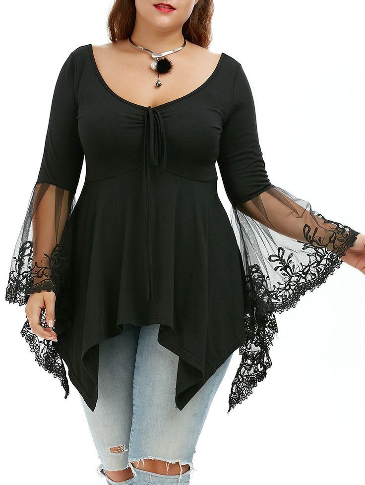 $12.72  Plus Size Flare Sleeve Handkerchief Tunic Top in Black | Sammydress.com