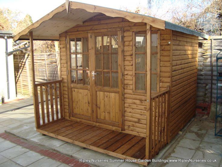 hampton summerhouse 8x6 off set doors 26 verandah t - Garden Sheds Ripley