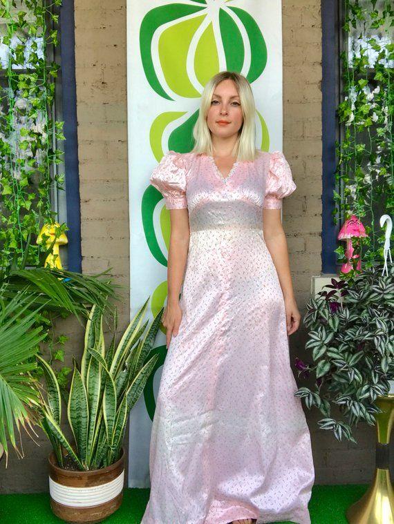 ad9c02a0d6 Vintage 1970s micro floral print puff sleeve empire waist maxi dress retro  70s prom dress bridesmaid