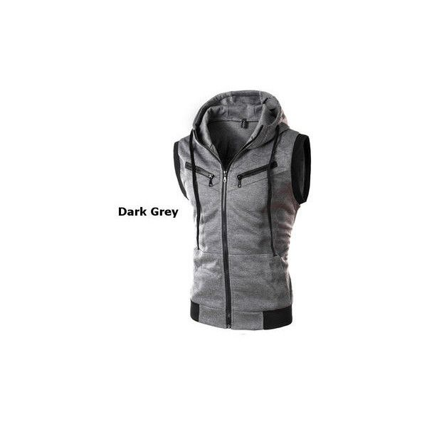 Mens Summer Casual Vest Fashion Sleeveless Hooded Vest (5.948 KWD) ❤ liked on Polyvore featuring men's fashion, men's clothing, men's outerwear, men's vests, dark gray, mens zip vest, mens vest, mens hooded vest, mens sleeveless vest and men's cotton vest