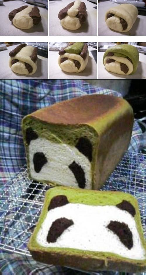 Panda Loaf!   I'm guessing they used food colouring for the different colours