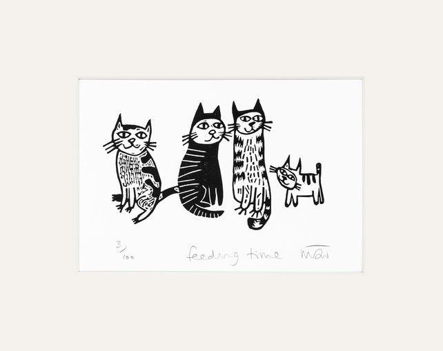 Feeding Time - lino print £14.00