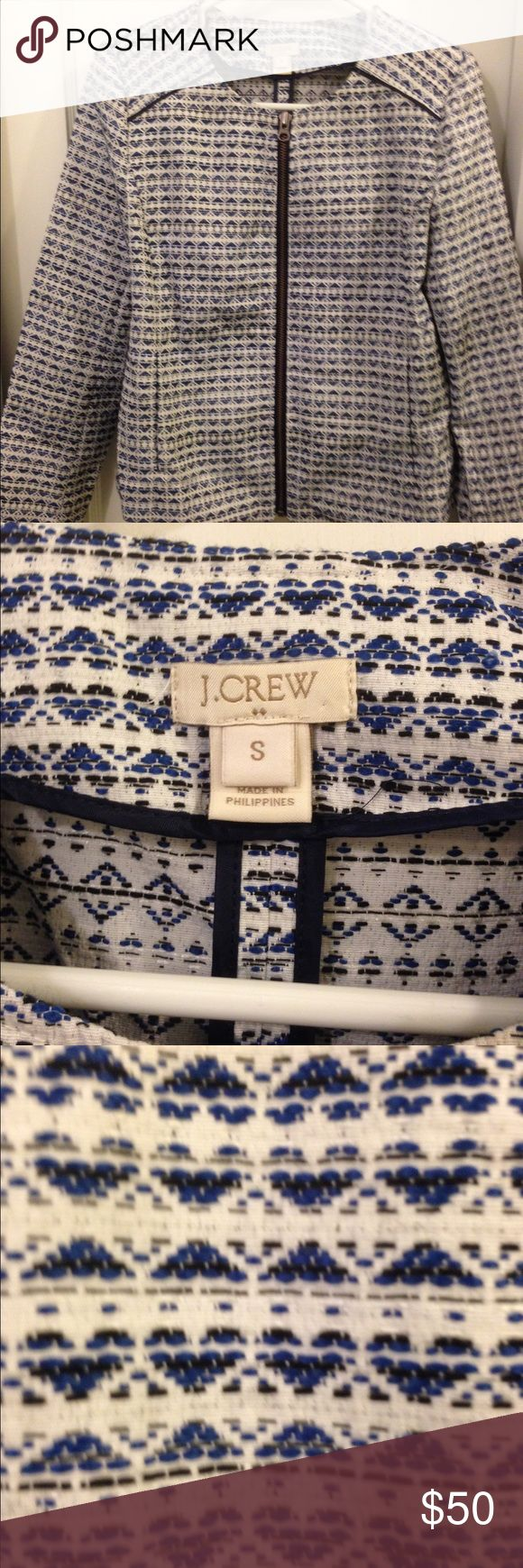 Jcrew jacket Jcrew zip up jacket in blue and white print looks brand new only worn once J. Crew Jackets & Coats