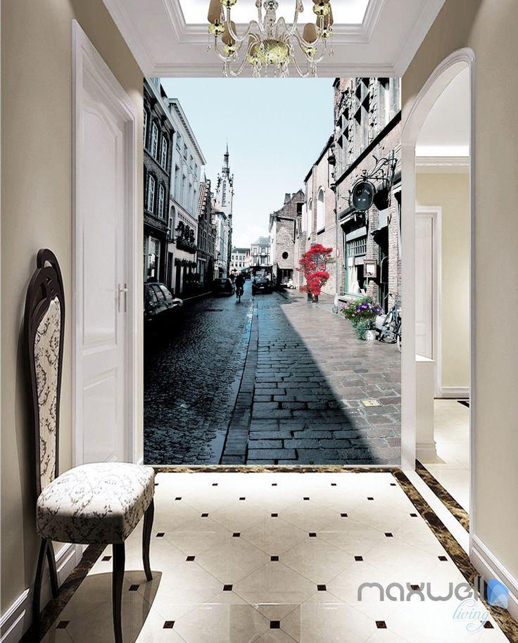 Прихожие с черно белыми фотообоями улиц