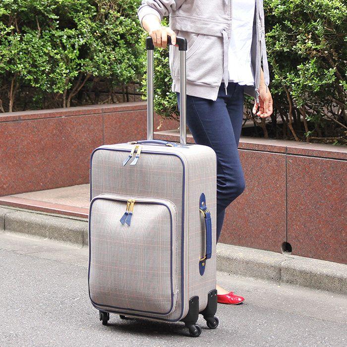 2泊~3泊用40Lサイズ、グレンチェックのキャリーバッグ。【40L 】【ツモリチサト キャリーケース スーツケース】
