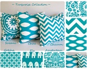 "Turquoise throw pillow cover 16"" x 16"" you choose fabric turquoise cushion cover chevron pillows. $15.00, via Etsy."