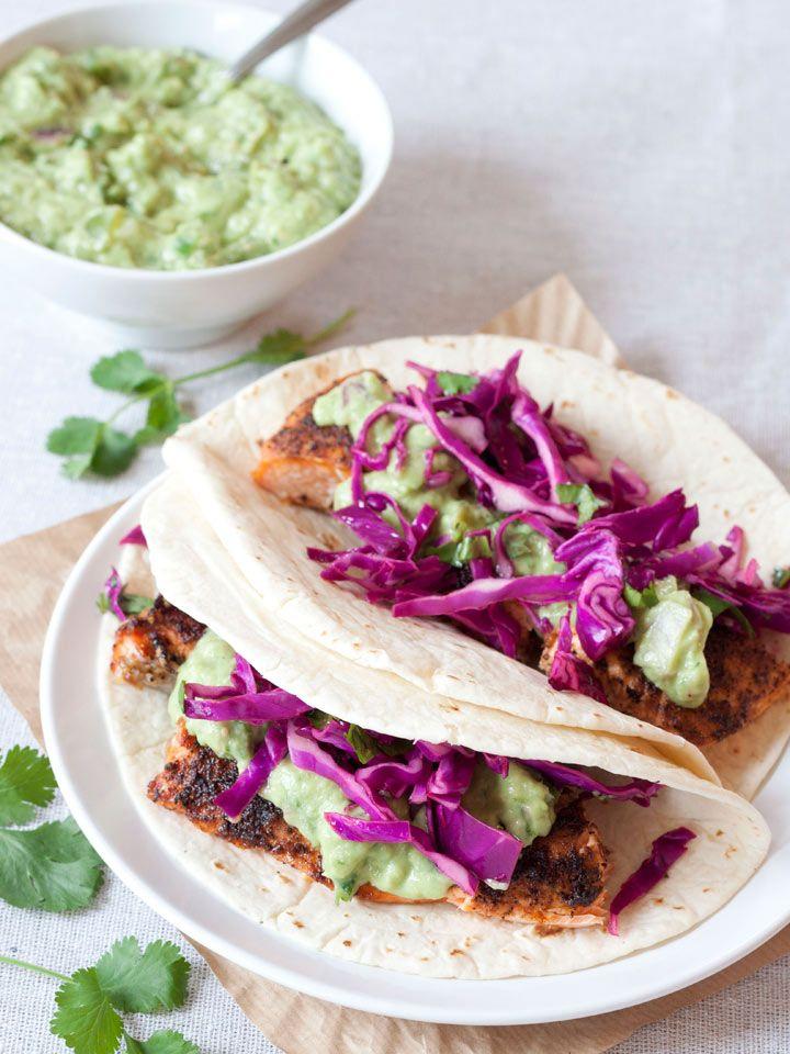 Salmon Tacos with Avocado-Tomatillo Salsa | Recipe