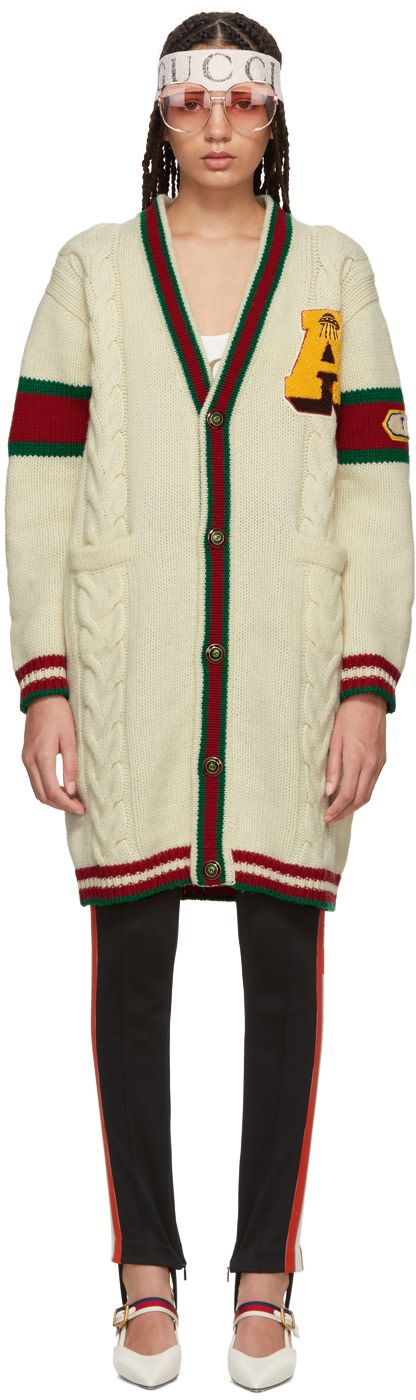 Gucci - White Wool 'Guccy' Tiger Cardigan