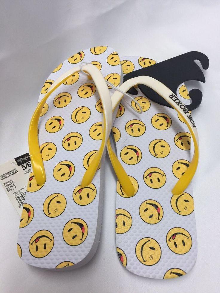 Joe Boxer Ladies Flip Flops Size 5/6 White with Yellow Smiley Face Beach Pool #JoeBoxer #FlipFlops #CasualBeachPool