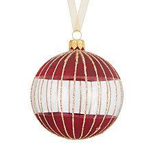 Buy John Lewis Mitsuko Glitter Stripe Dip Bauble, Ruby Online at johnlewis.com