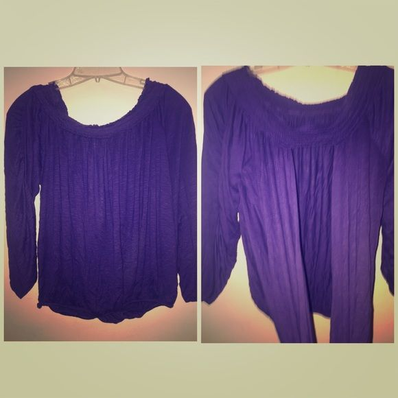Free People Smocked Shoulder Open Back Top One sleeve Free People purple top. Smocked neck can be worn off the shoulder. Ruched arms are tied with strings. Bottom is gathered, boho feel. Never worn. Free People Tops