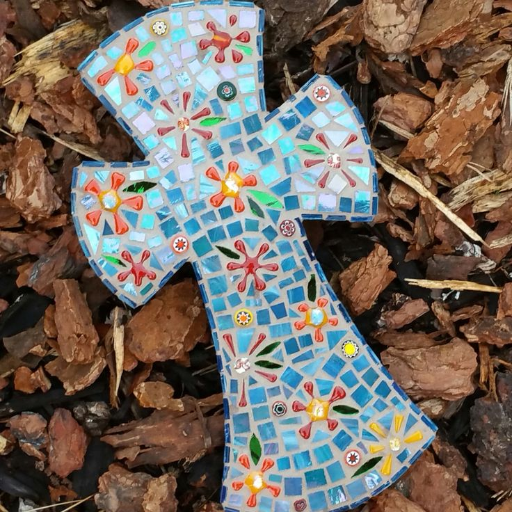 Large mosaic cross with kiln fired flowers, millefiori, and iridized spectrum streaky stained glass by SacredArtwork on Etsy