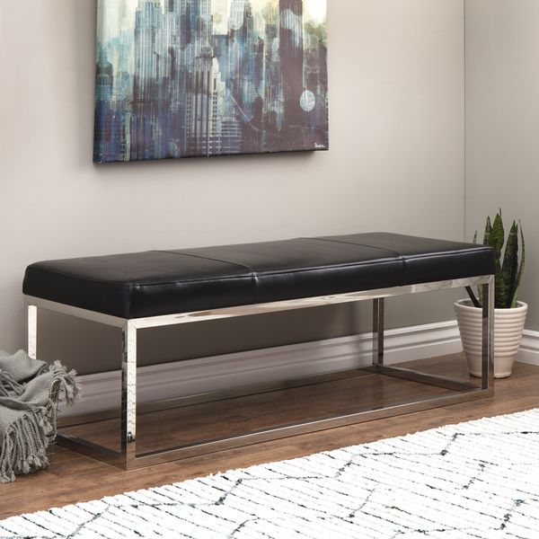 Manhattan Black and Stainless Steel Modern Leather Bench | Overstock.com Shopping - The Best Deals on Benches