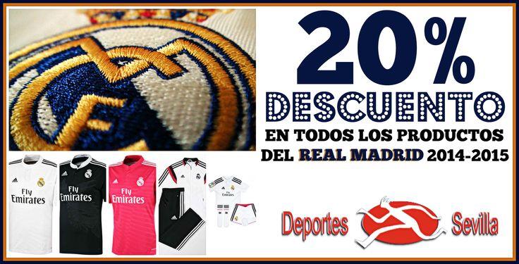 ¡¡20% DESCUENTO en todos los productos del Real Madrid en Deportes Sevilla!! #DeportesSevilla #RealMadrid #HalaMadrid #Rebajas #Ofertas #Descuentos