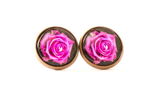 Kolczyki wkrętki z różą / Rose earrings - Art-Of-Nature