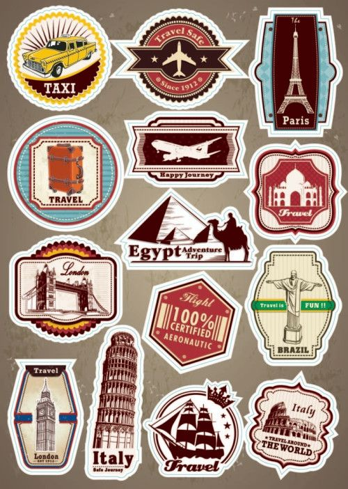 World Famous Scenic Spot Signs sticker on a laptop luggage baggage trolley travel bag guitar skateboard stickers for Car Styling