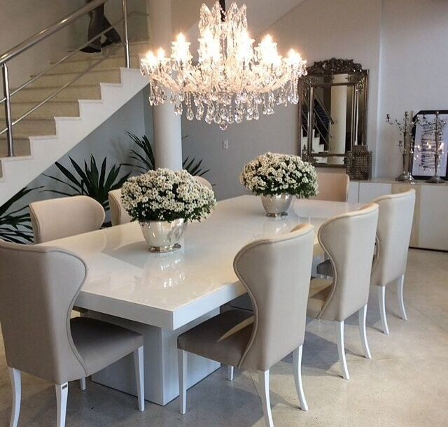 big dreams luxury taste photo dining table chandeliergrey - Modern Luxury Dining Room