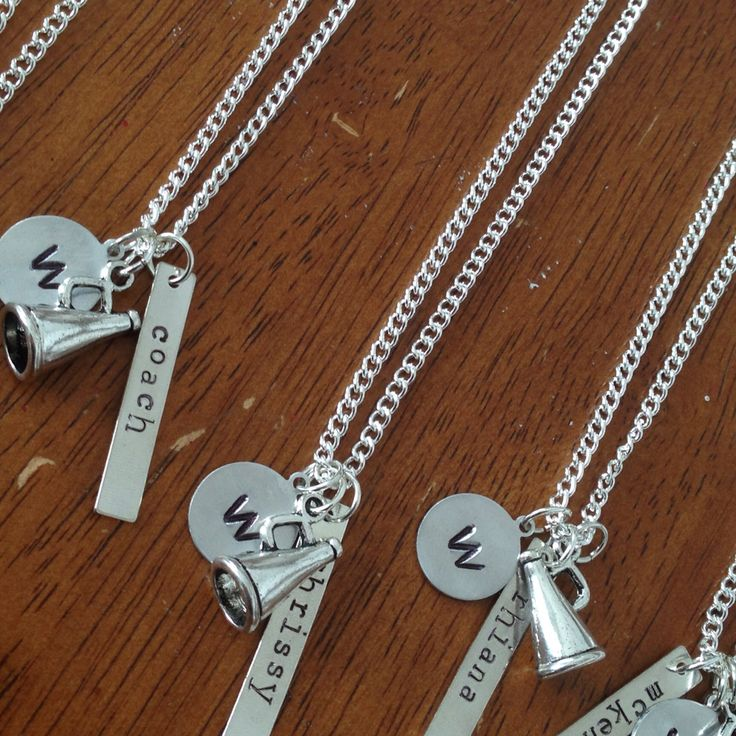 Hand stamped cheerleading necklaces. Cheer gifts.
