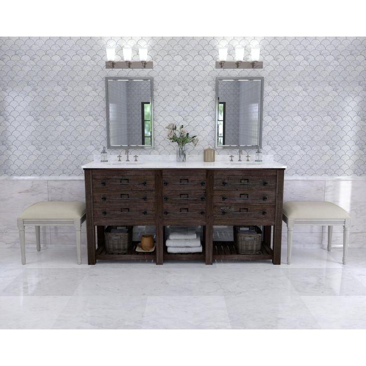 Carrara Fan Water Jet Cut Marble Mosaic   12in. X 12in.   100245554 |