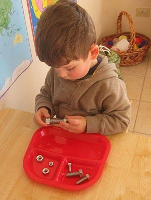 Little boys will love the idea of working like daddy in the garage and everyone will appreciate the fine motor workout you can get from matching nuts and bolts. This idea (and several more in the same post) from Counting Coconuts. Pinned by SPD Blogger Network. For more sensory-related pins, see http://pinterst.com/spdbn