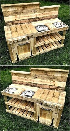Now here we have added an idea for the kids, so they can get a place to play and it is great for the girls. Have a look at the repurposed wood pallet mud kitchen plan which contains the skin, space to place the items used in playing the cooking games.