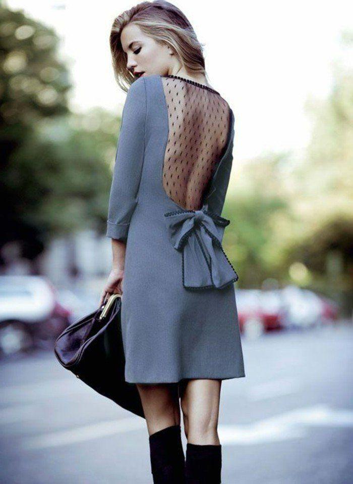 robe de soirée courte grise tendances de la mode