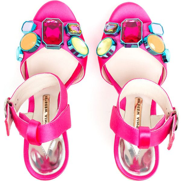 SOPHIA WEBSTER Amanda Platform Sandals (850 CAD) ❤ liked on Polyvore featuring shoes, sandals, neon sandals, platform shoes, embellished sandals, gem sandals and embellished shoes