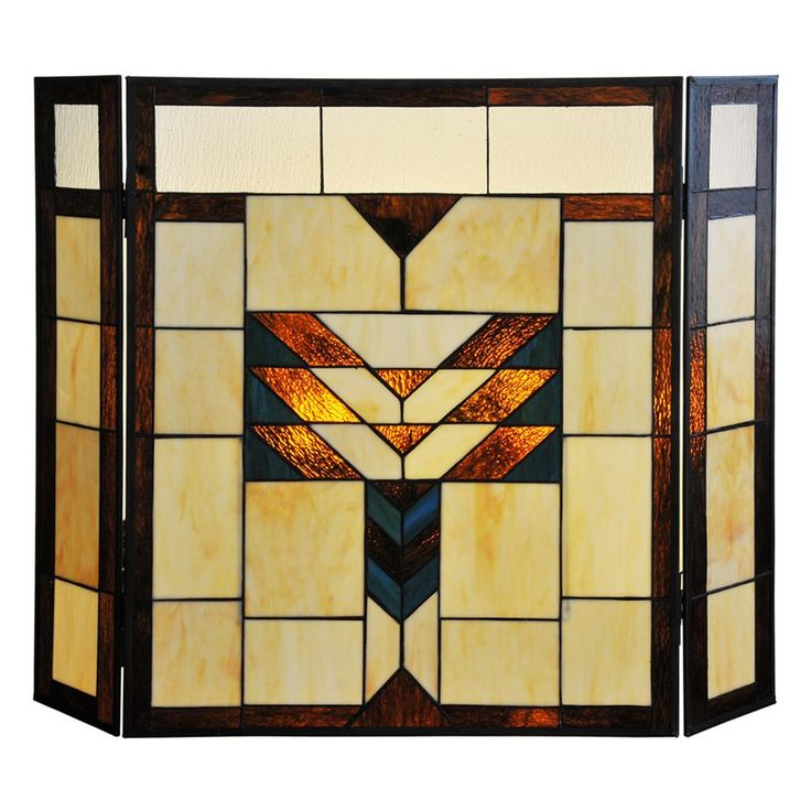 River of Goods 26-inch Mission Style Stained Glass Fireplace Screen (Mission Style Stained Glass Fireplace Screen), Blue