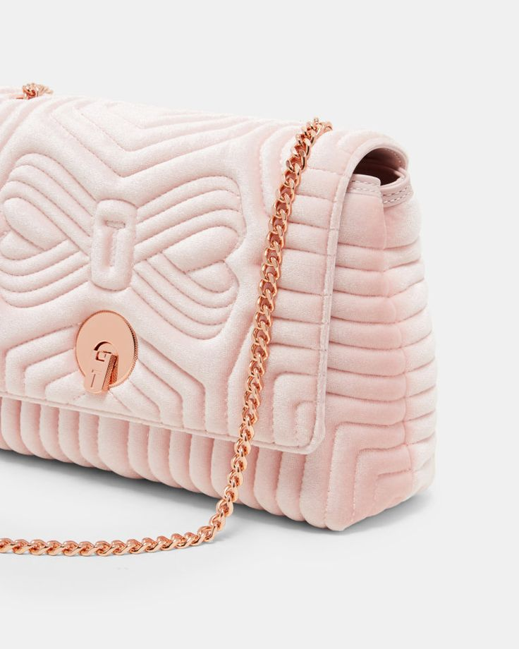 Quilted velvet cross body bag - Dusky Pink | Bags | Ted Baker UK