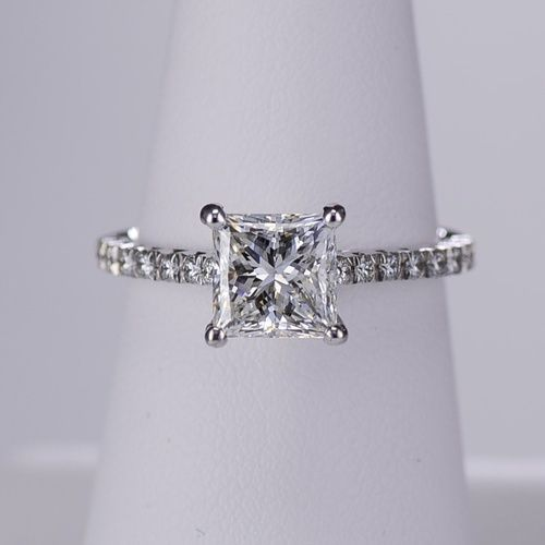 A ring fit for a princess! Princess cut diamond band engagement ring by Ritani.